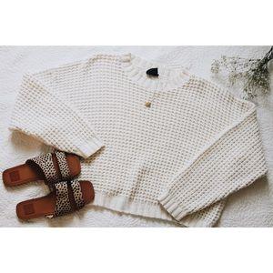Waffle Knit Cream Sweater